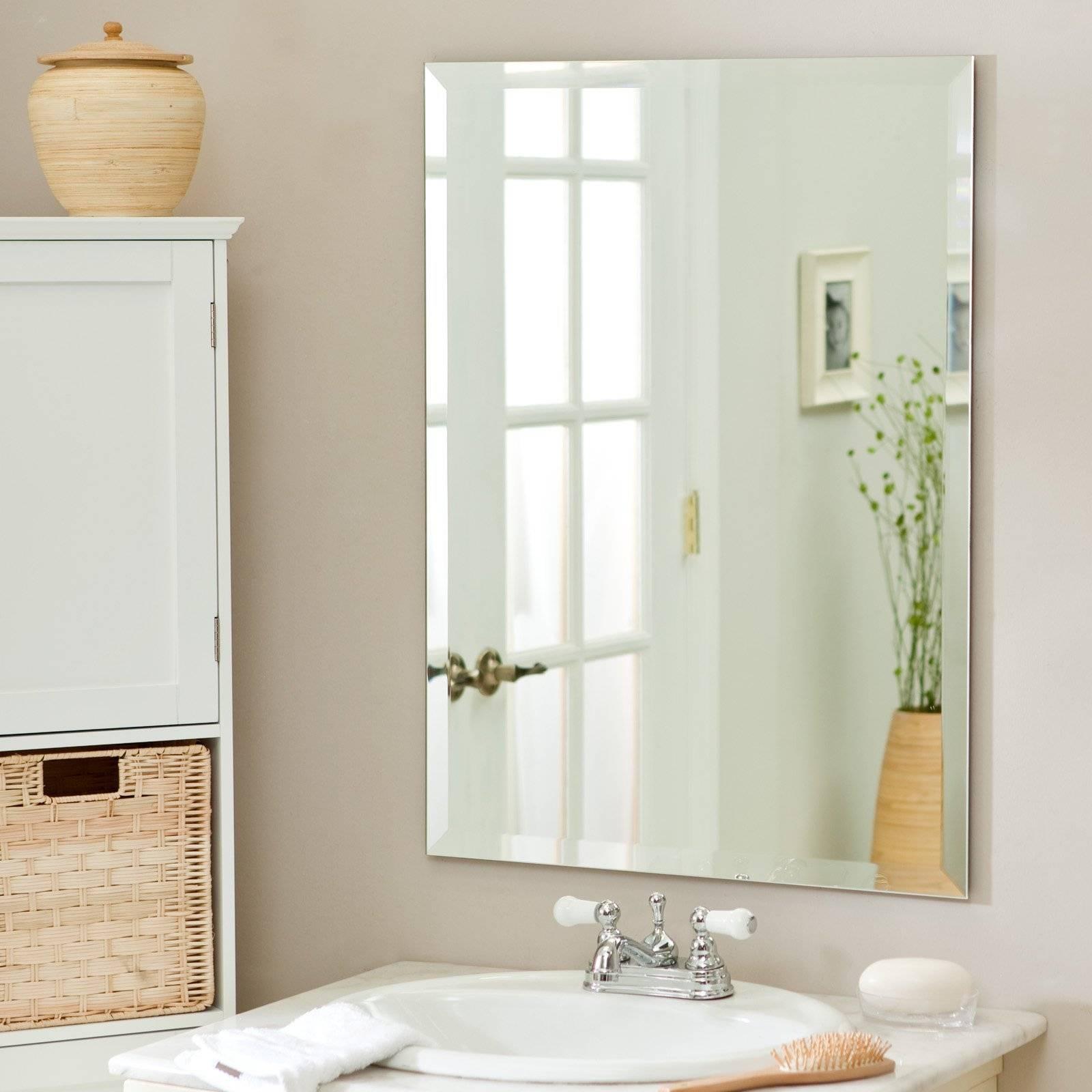 Frameless Beveled Rectangular Wall Mirror Frameless Bathroom inside Vintage Frameless Mirrors (Image 6 of 15)