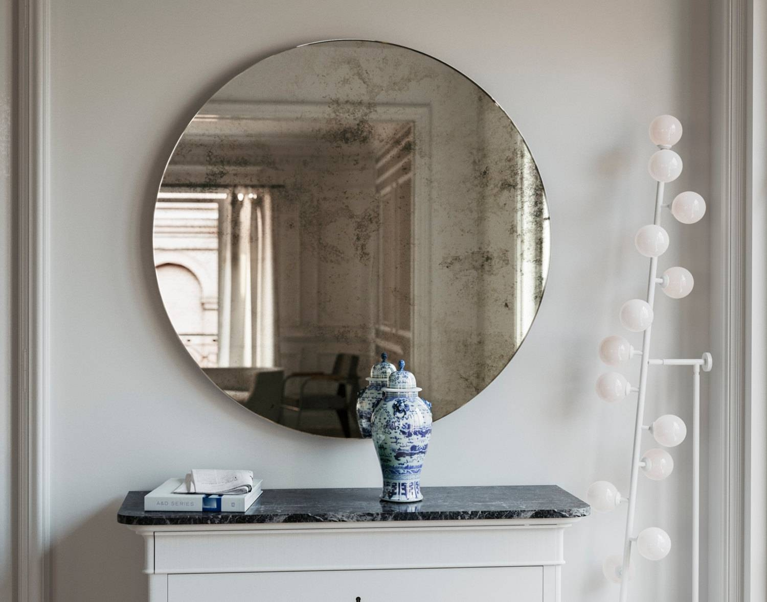 Frameless Mirror 1920S Inspired Art Deco Glass Hanging Wall with Round Art Deco Mirrors (Image 9 of 15)