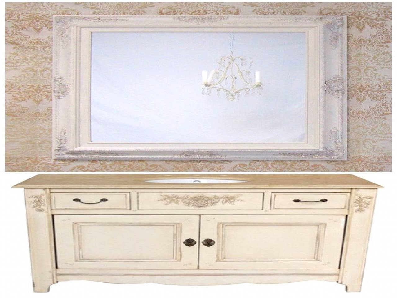 French Country Bathroom Vanities regarding French Bathroom Mirrors (Image 12 of 15)