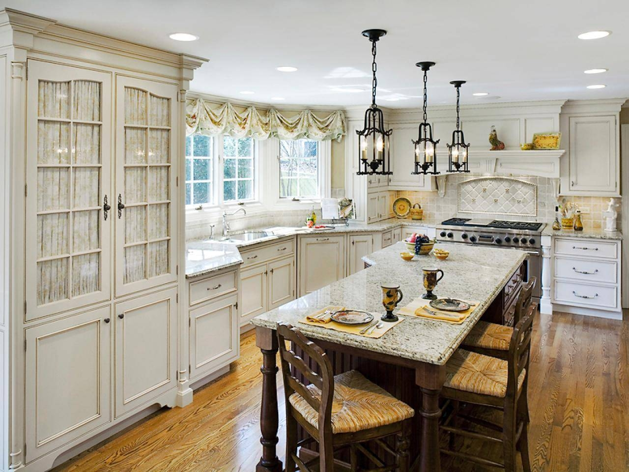 French Country Kitchen Lighting, Fairfield Semi Flush Mount with Cottage Style Pendant Lighting (Image 12 of 15)
