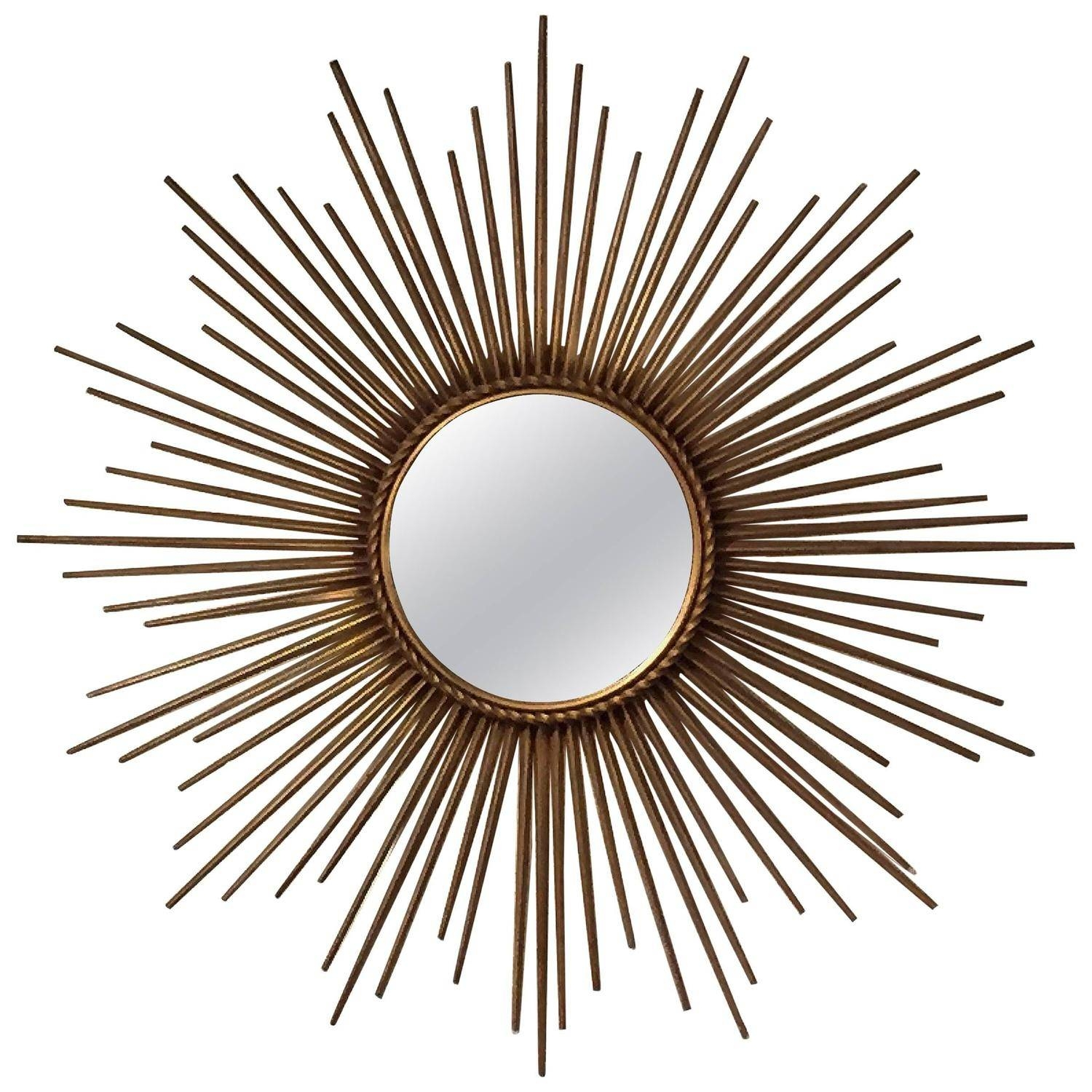 French Gilt Sunburst Or Starburst Mirrorchaty Vallauris At 1Stdibs inside Starburst Convex Mirrors (Image 5 of 15)