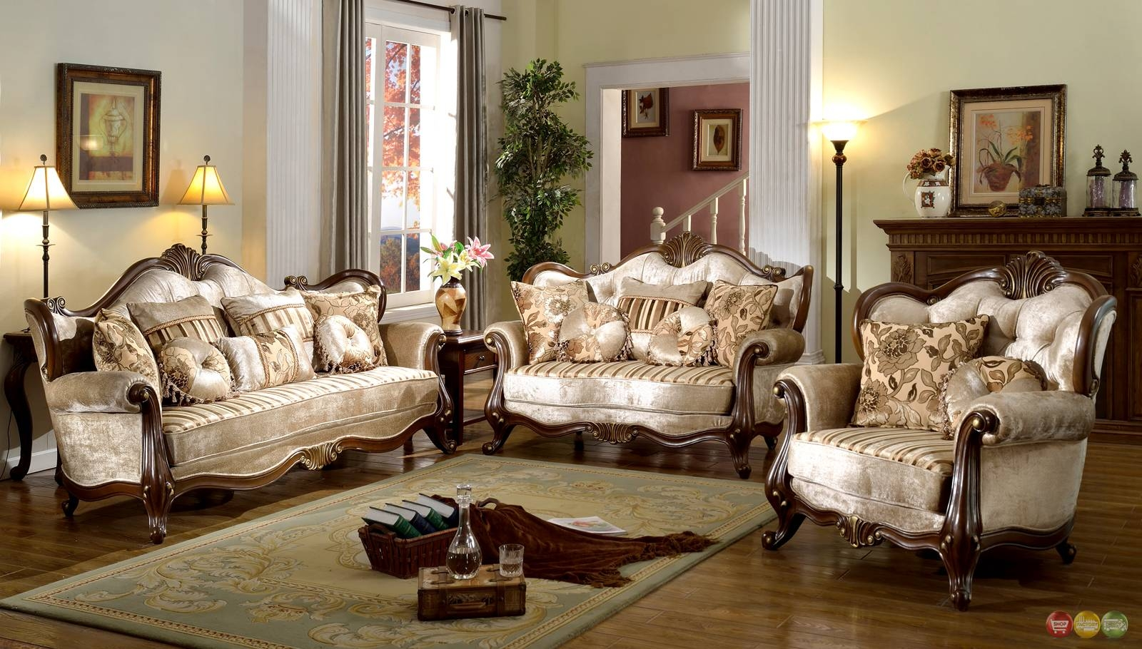 French Provincial Formal Antique Style Living Room Furniture Set in Living Room Sofa Chairs (Image 5 of 15)