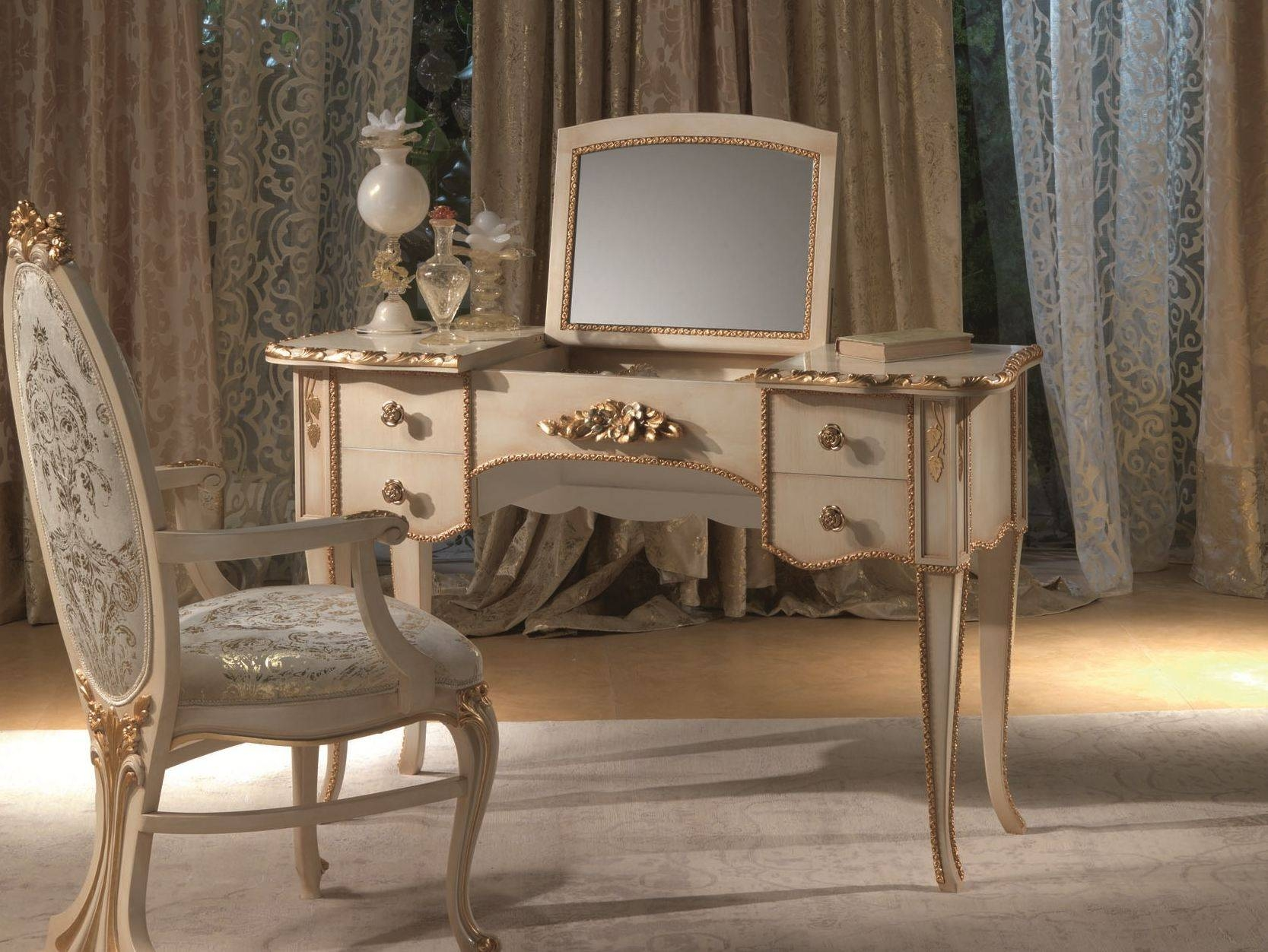 French Style Vintage Makeup Vanity Table With Drawer And Brass within Cheap French Style Mirrors (Image 10 of 15)
