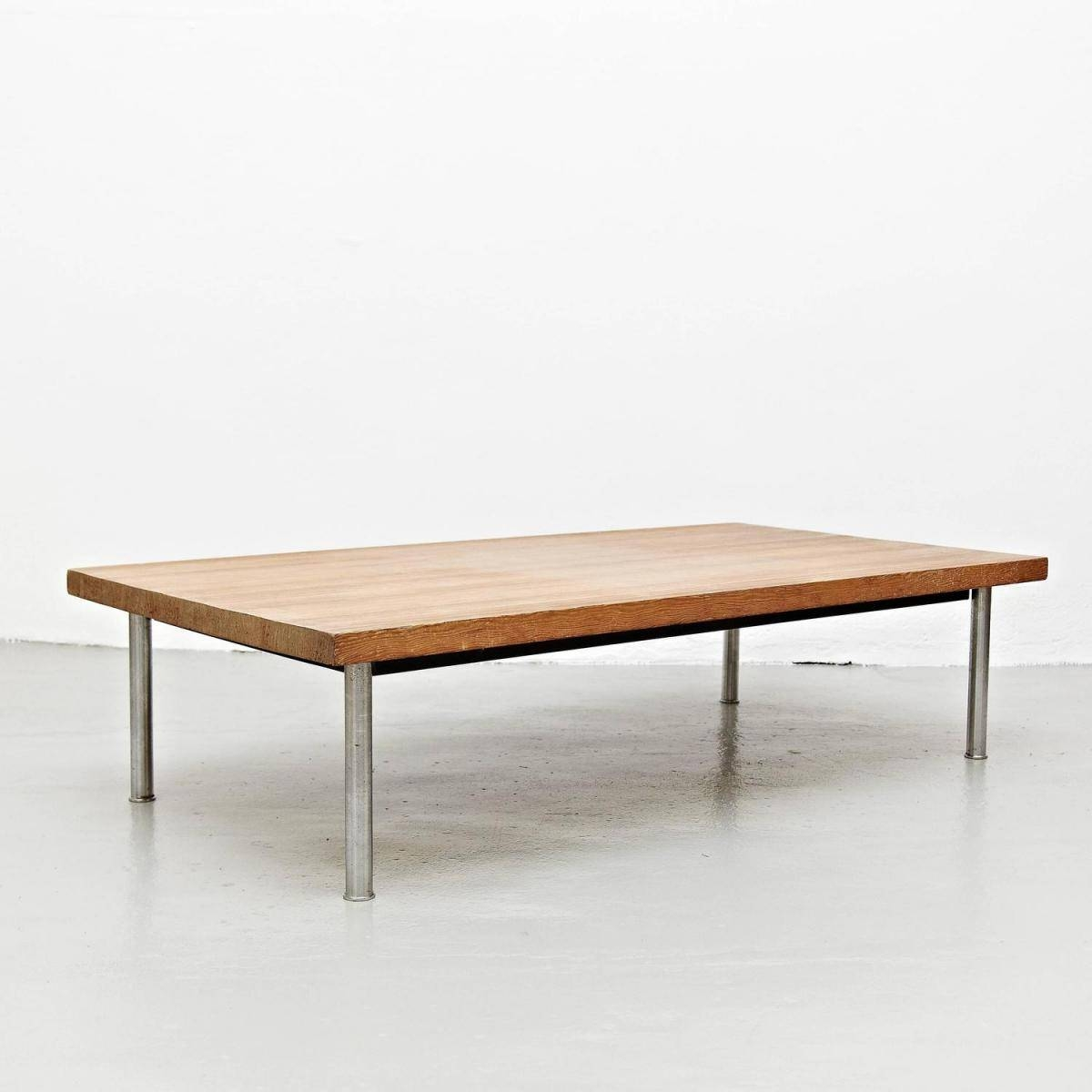 French Wood & Steel Coffee Table, 1950S For Sale At Pamono throughout Wood And Steel Coffee Table (Image 5 of 15)