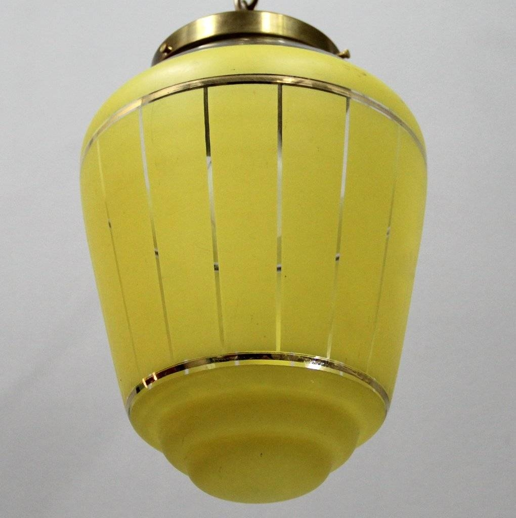 French Yellow Glass Pendant Lamp, 1950S For Sale At Pamono for French Glass Pendant Lights (Image 6 of 15)
