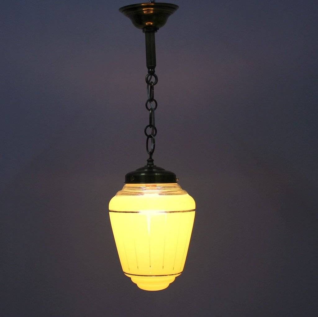 French Yellow Glass Pendant Lamp, 1950S For Sale At Pamono intended for French Glass Pendant Lights (Image 7 of 15)