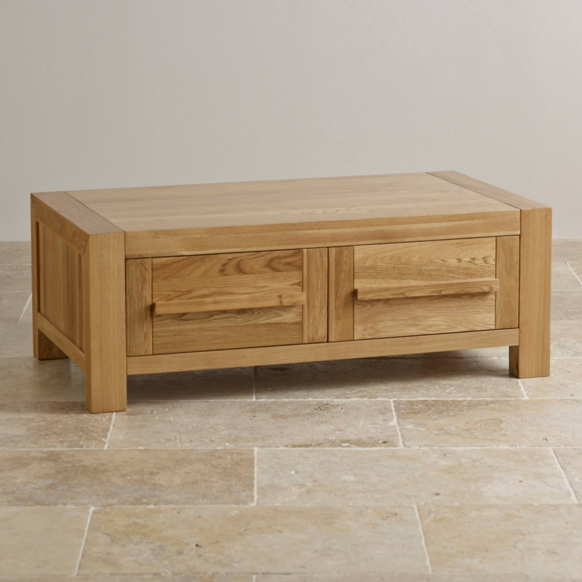 Fresco 2 Drawer Coffee Table In Solid Oak | Oak Furniture Land within Oak Coffee Tables With Storage (Image 4 of 15)