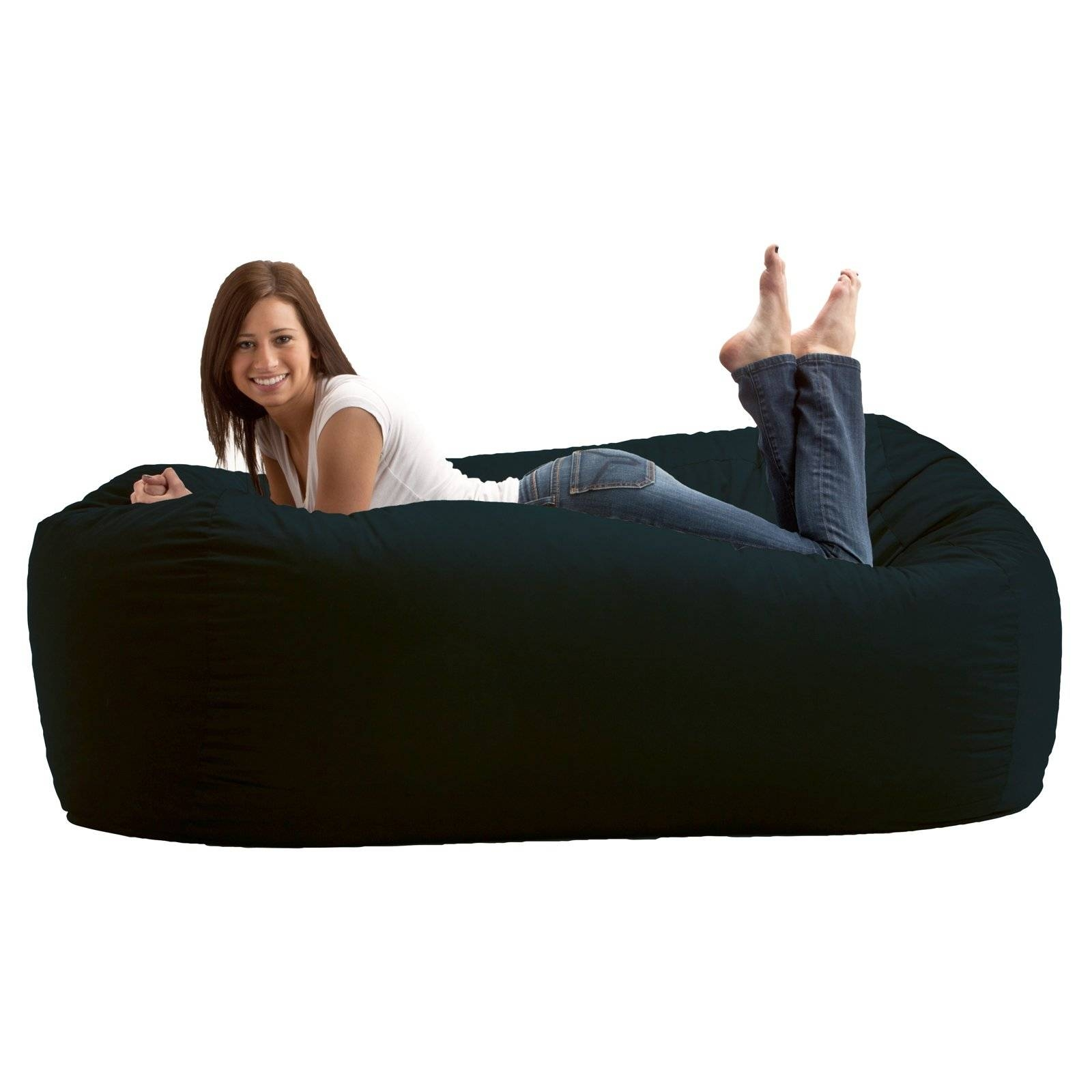 Fuf 4 Ft. Large Comfort Suede Bean Bag Lounger | Hayneedle pertaining to Bean Bag Sofas and Chairs (Image 11 of 15)