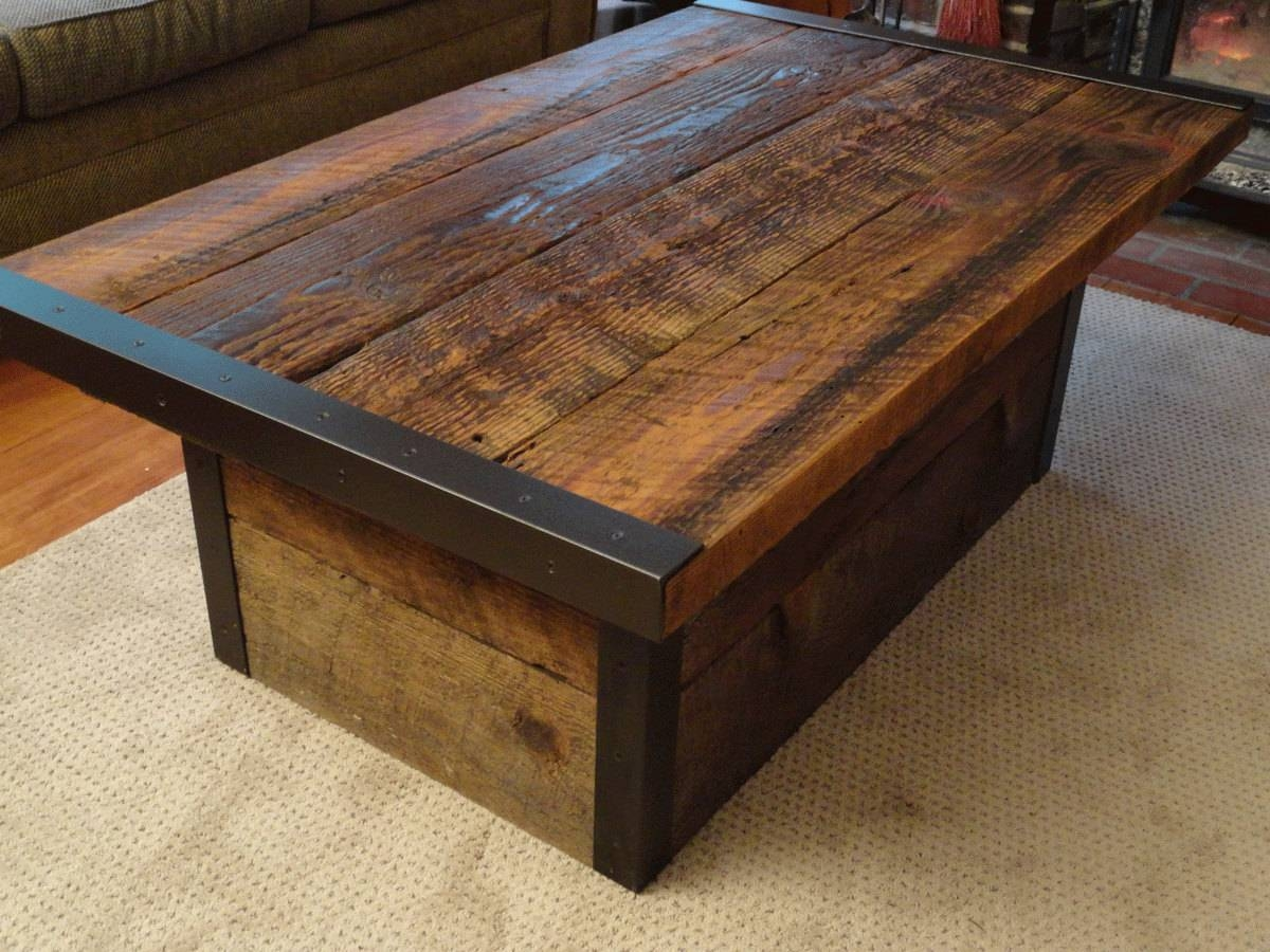 Furniture: Attractive Furniture For Unique Rustic Living Room In Solid Oak Coffee Table With Storage (View 6 of 15)