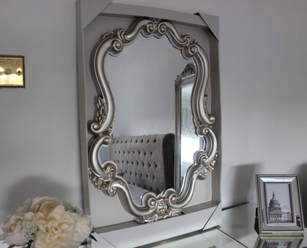 Furniture : Beautiful Silver Stainless Neo Baroque Vanity Mirror Regarding Silver Baroque Mirrors (View 7 of 15)