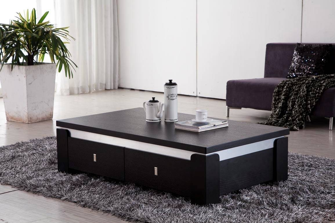 Furniture. Black Modern Coffee Table Design Ideas: Rectangle Wood intended for Modern Coffee Tables With Storage (Image 5 of 15)