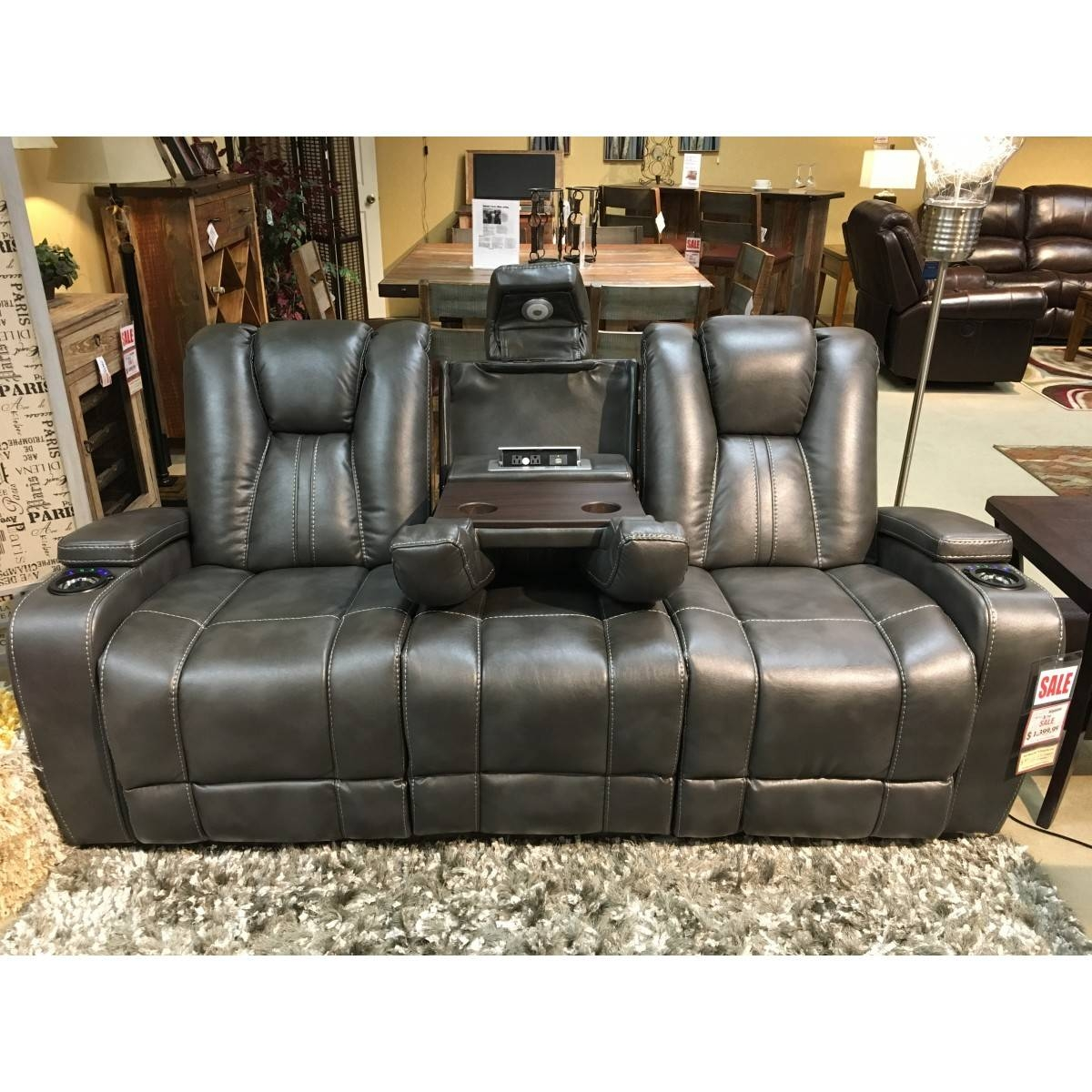 Furniture Bolero Slate Power Reclining Entertainment Sofa with Cheers Recliner Sofas (Image 4 of 15)