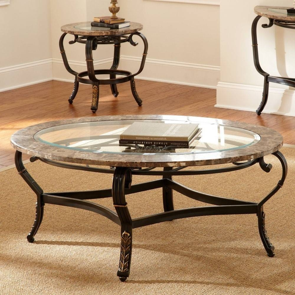 Furniture. Coffee Table Sets For Sale: Brown Oval Rustic Metal with regard to Marble and Glass Coffee Table (Image 6 of 15)