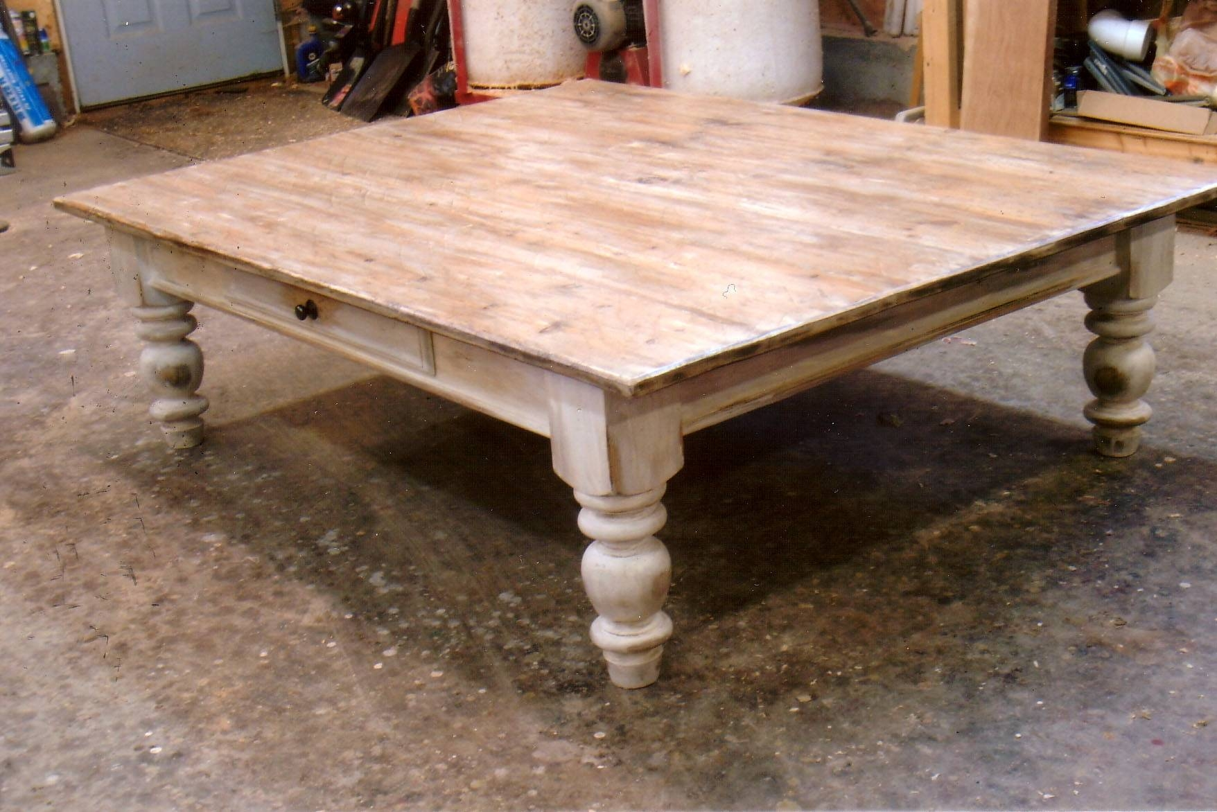 Furniture: Cute Unique White Oak Unfinished Rectangular Low Coffee For Large Square Oak Coffee Tables (View 11 of 15)