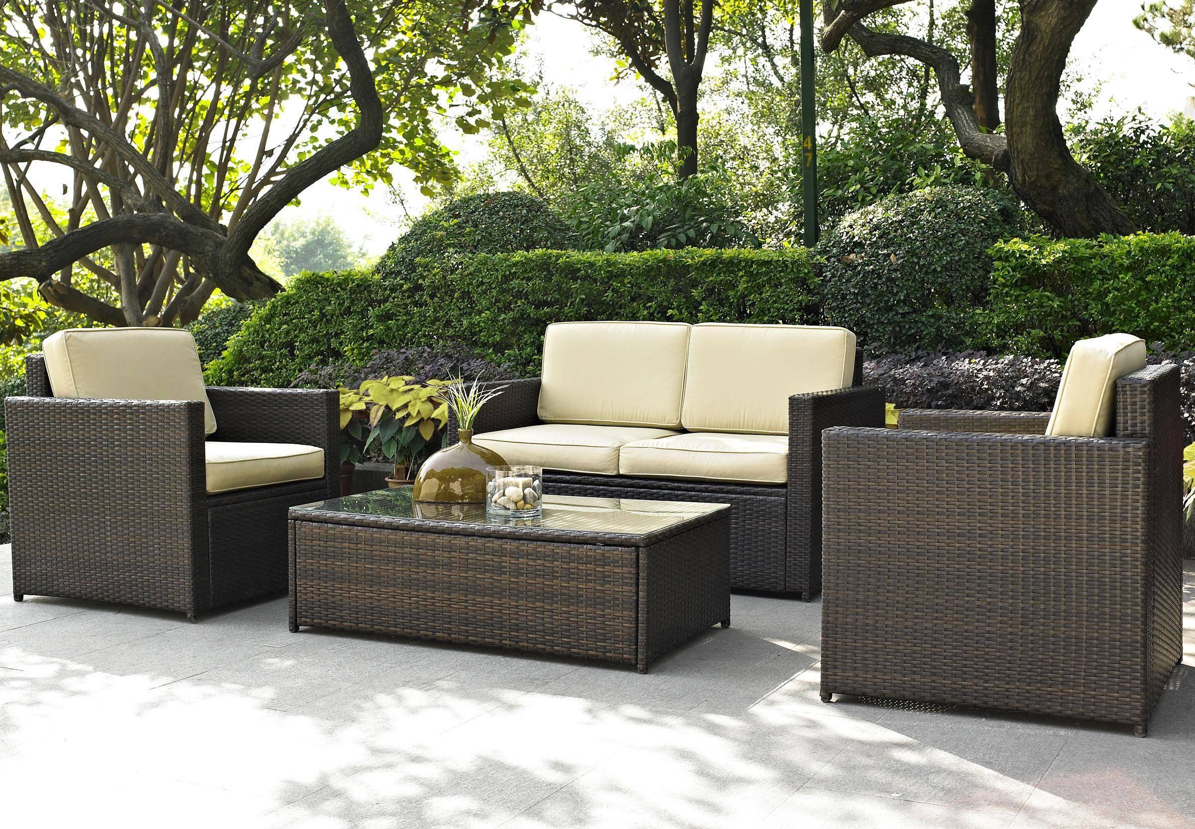 Furniture: Enchanting Deck Design With Elegant Black Wicker Throughout Black Wicker Sofas (View 8 of 15)