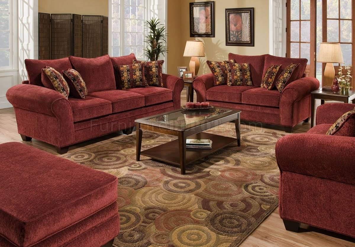 Furniture: How To Decorate Your Endearing Living Room With Intended For Burgundy Leather Sofa Sets (View 9 of 15)