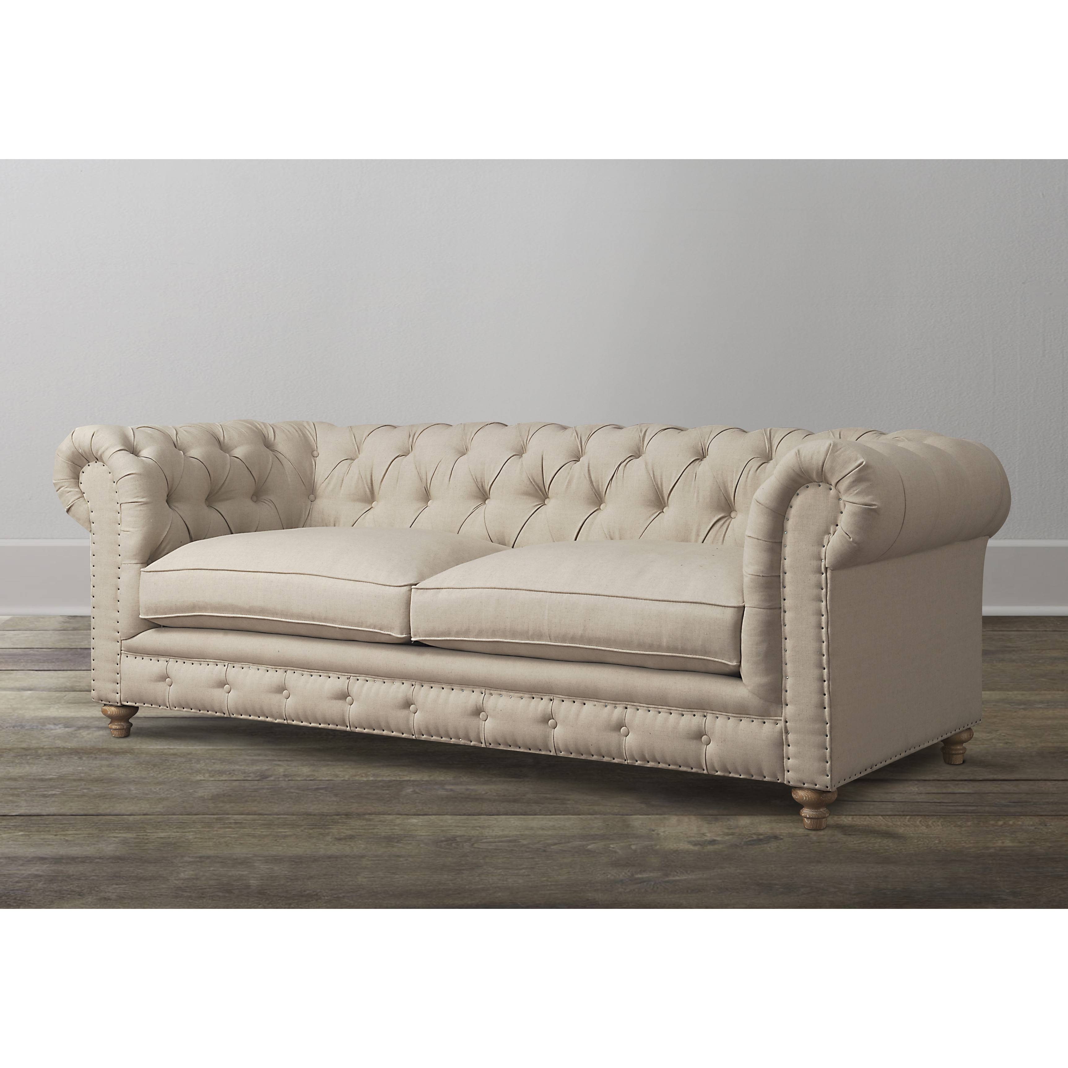 Furniture Living Room Beige Leather Tufted Chesterfield Sofa With in Shabby Chic Sectional Sofas Couches (Image 9 of 15)