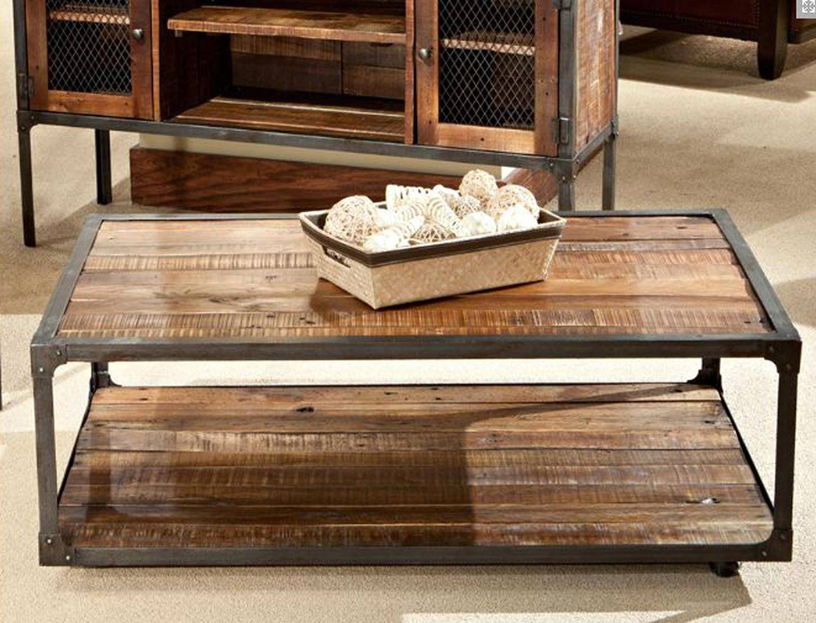 Furniture. Metal Wood Coffee Table Ideas: Brown Rectangle throughout Metal and Wood Coffee Tables (Image 8 of 15)