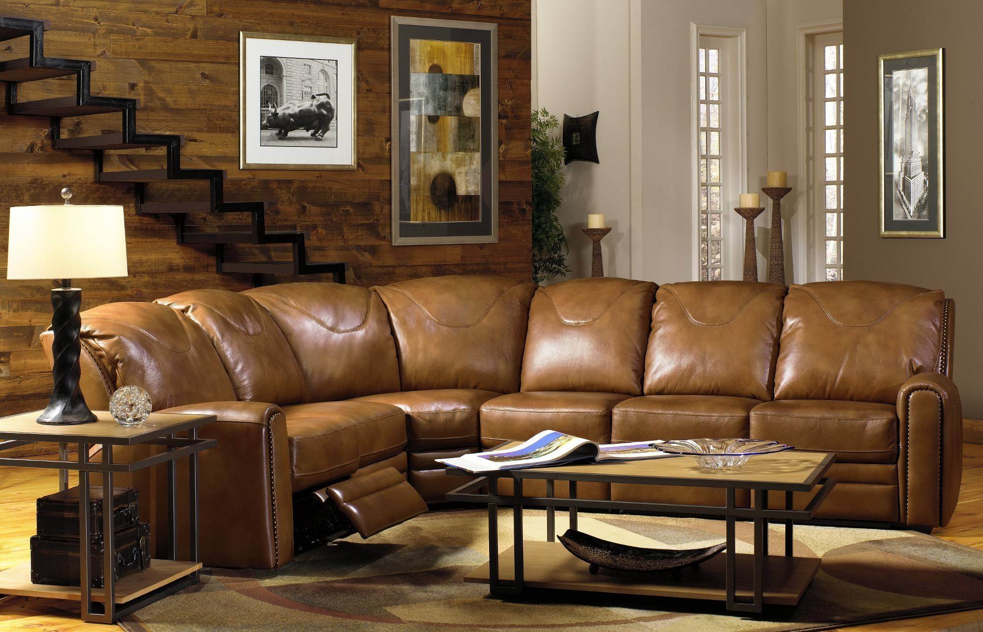 Furniture: Modern Leather Sectional Sofa With Recliners inside Traditional Leather Sectional Sofas (Image 11 of 15)