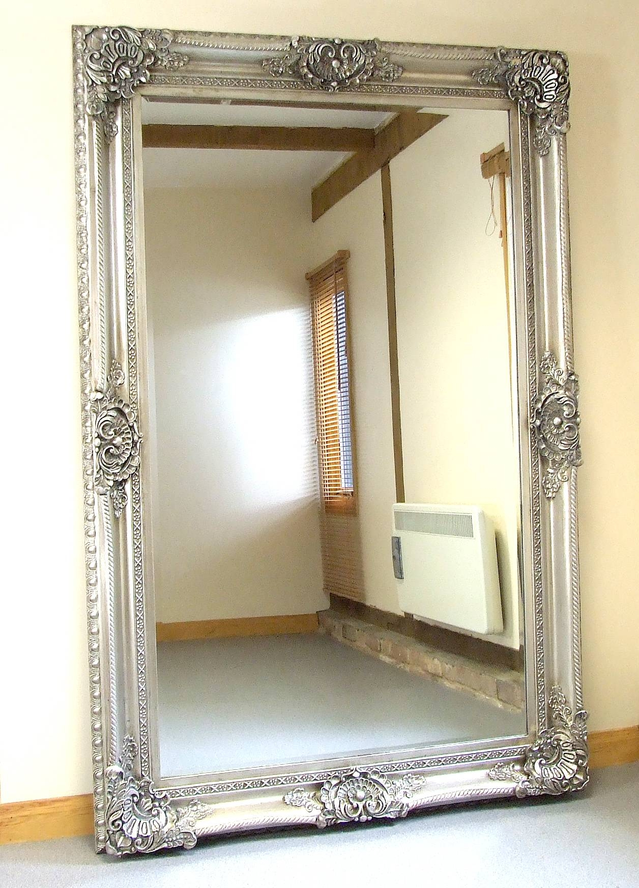 Furniture: Pewter Edted Leaner Mirror With Wooden Floor And Rug Inside Pewter Ornate Mirrors (View 5 of 15)