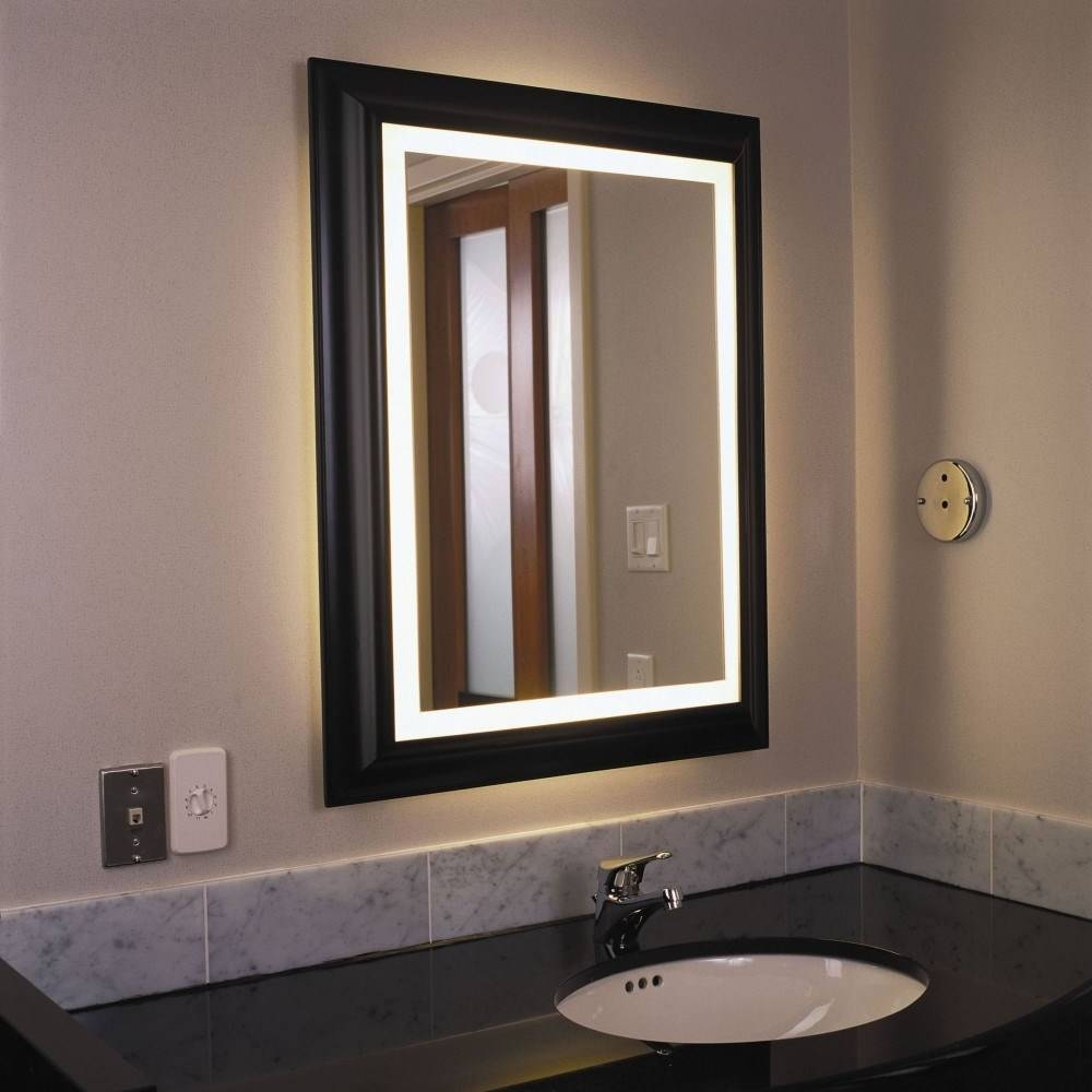 Furniture: Wooden Black Bathroom Lighted Mirrors Frame Design With Black Cabinet Mirrors (View 8 of 15)