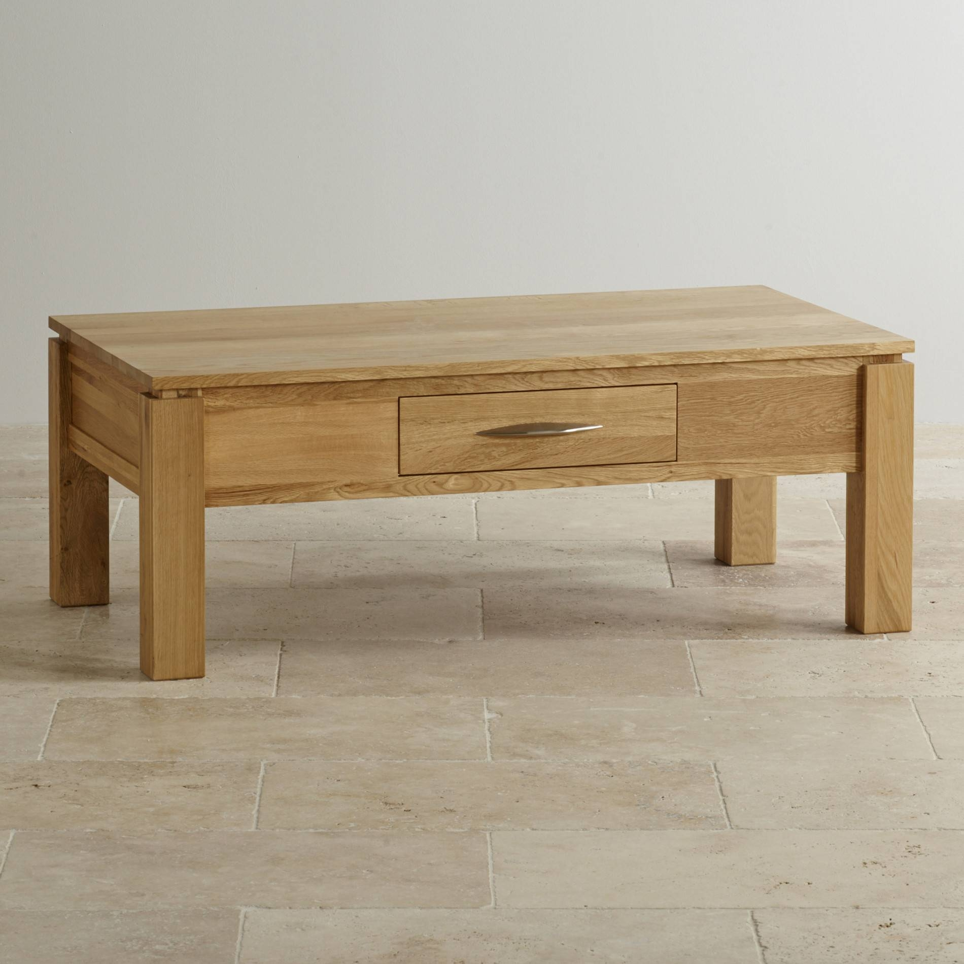 Galway Large Coffee Table In Solid Oak | Oak Furniture Land Intended For Oak Coffee Table With Storage (View 5 of 15)