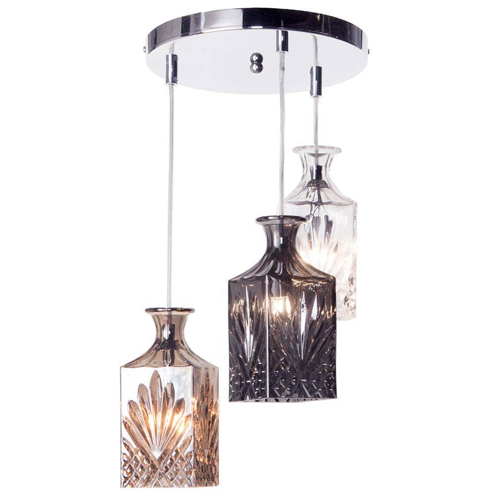 Gatsby 3 Light Cluster Pendant Light Glass Shades - Chrome with Cluster Glass Pendant Light Fixtures (Image 7 of 15)