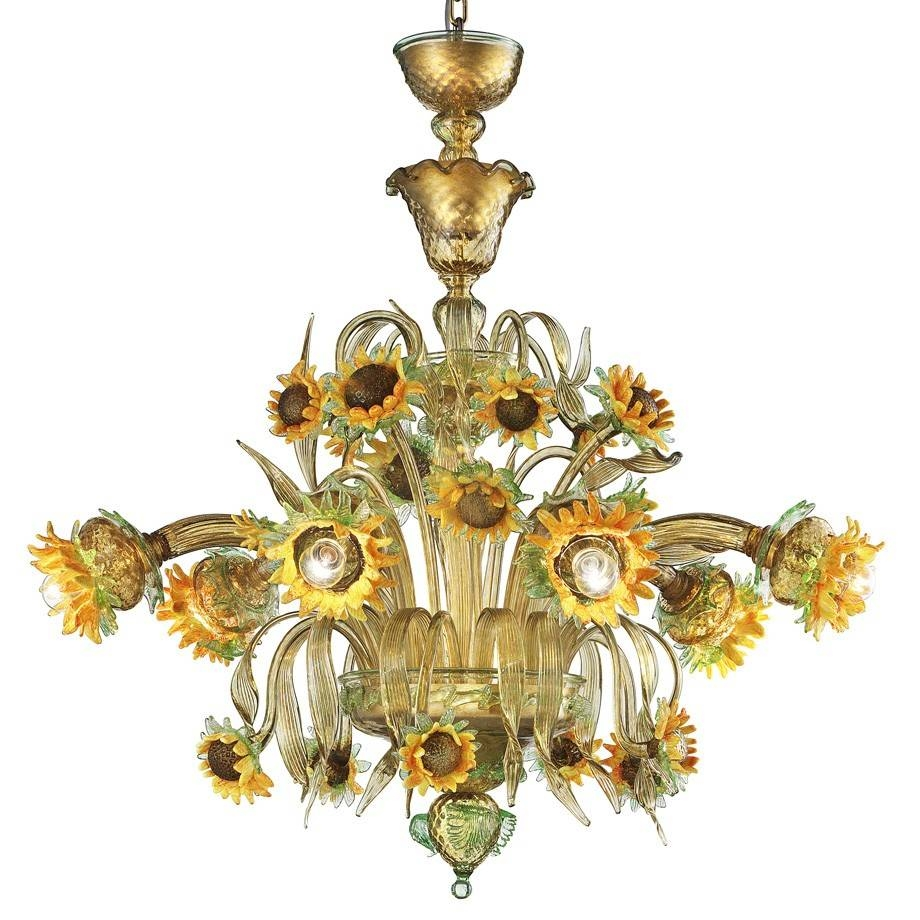 "Girasole"" Sunflowers Murano Glass Chandelier - Murano Glass intended for Venetian Glass Ceiling Lights (Image 6 of 15)"