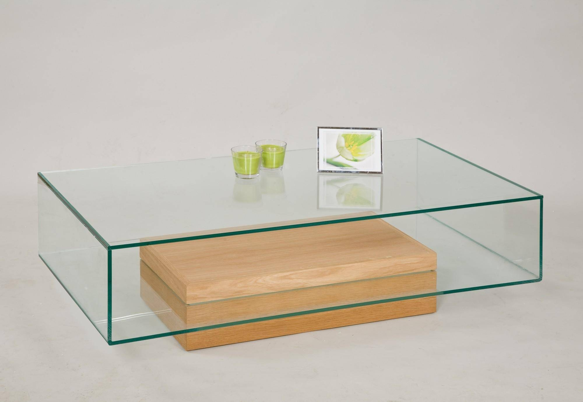 Glass Coffee Table With Oak Base From Tannahill Furniture Ltd Regard To