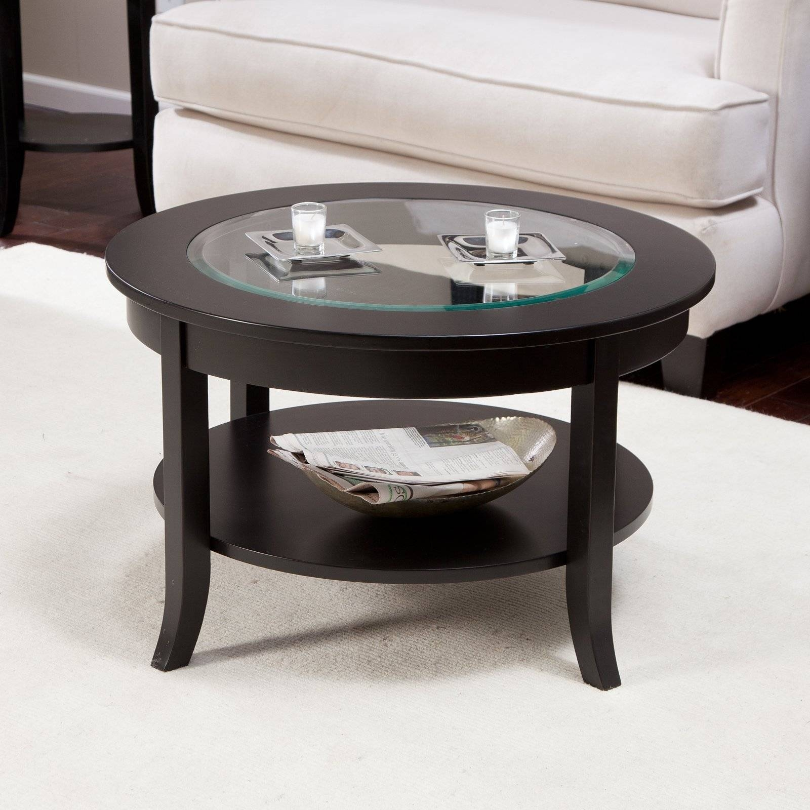 Glass Coffee Tables: Astounding Modern Small Black Glass Coffee Intended For Round Wood And Glass Coffee Tables (View 10 of 15)