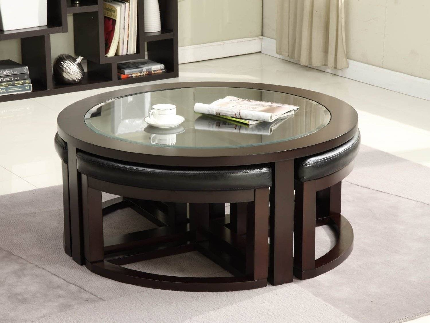 Glass Coffee Tables: Astounding Unique Samples Glass Coffee Tables for Round Wood and Glass Coffee Tables (Image 7 of 15)