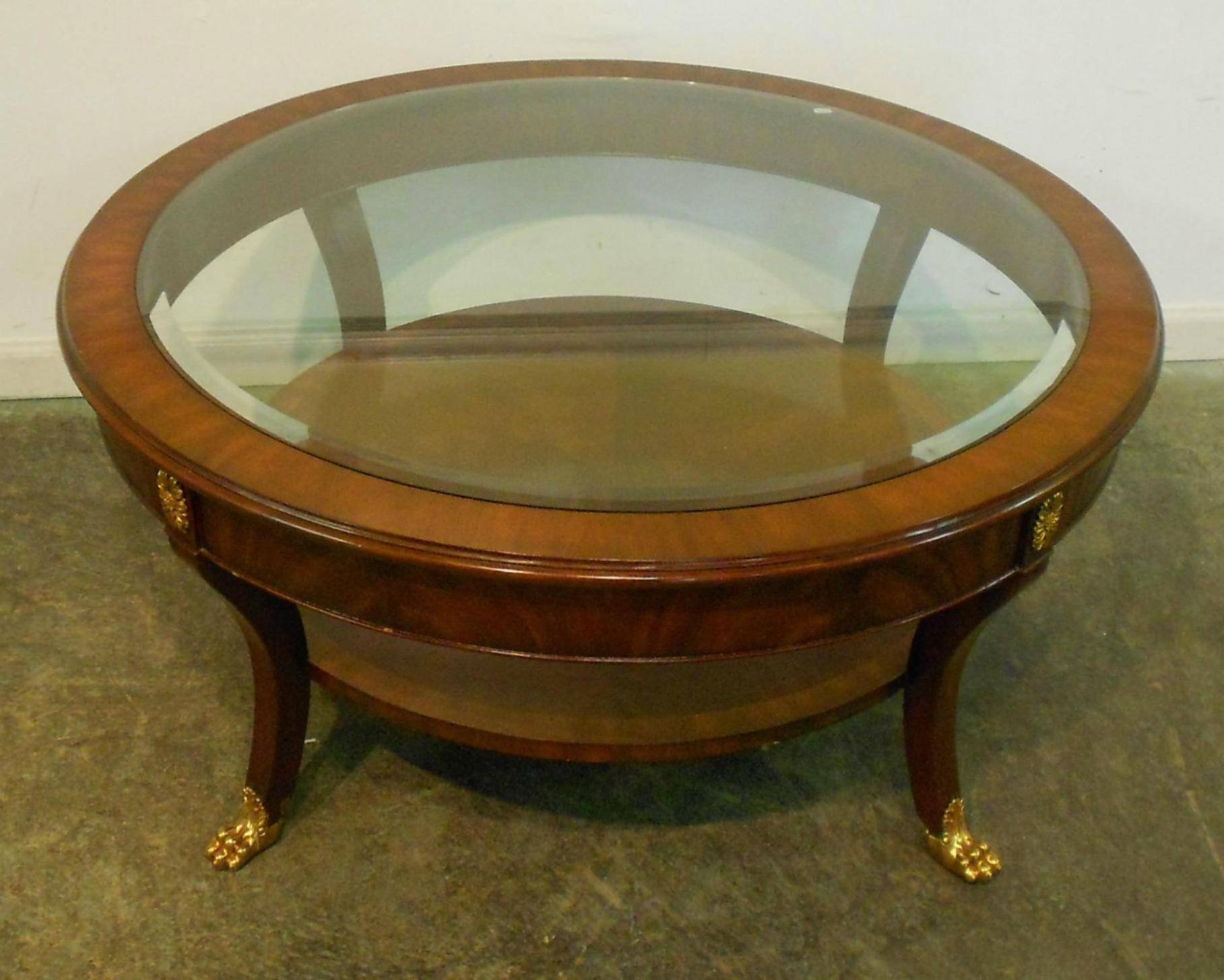Glass Coffee Tables: Baffling Small Round Glass Top Coffee Table with Round Wood and Glass Coffee Tables (Image 8 of 15)