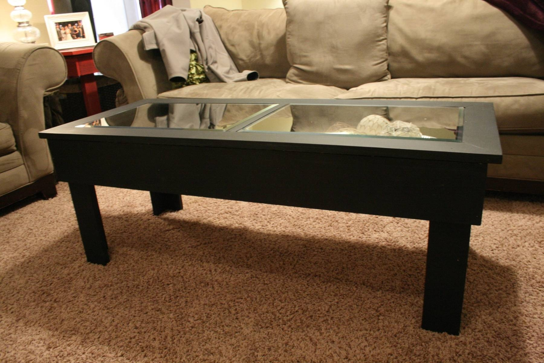 Glass Coffee Tables: Charming Dark Wood Coffee Table With Glass regarding Solid Glass Coffee Table (Image 6 of 15)