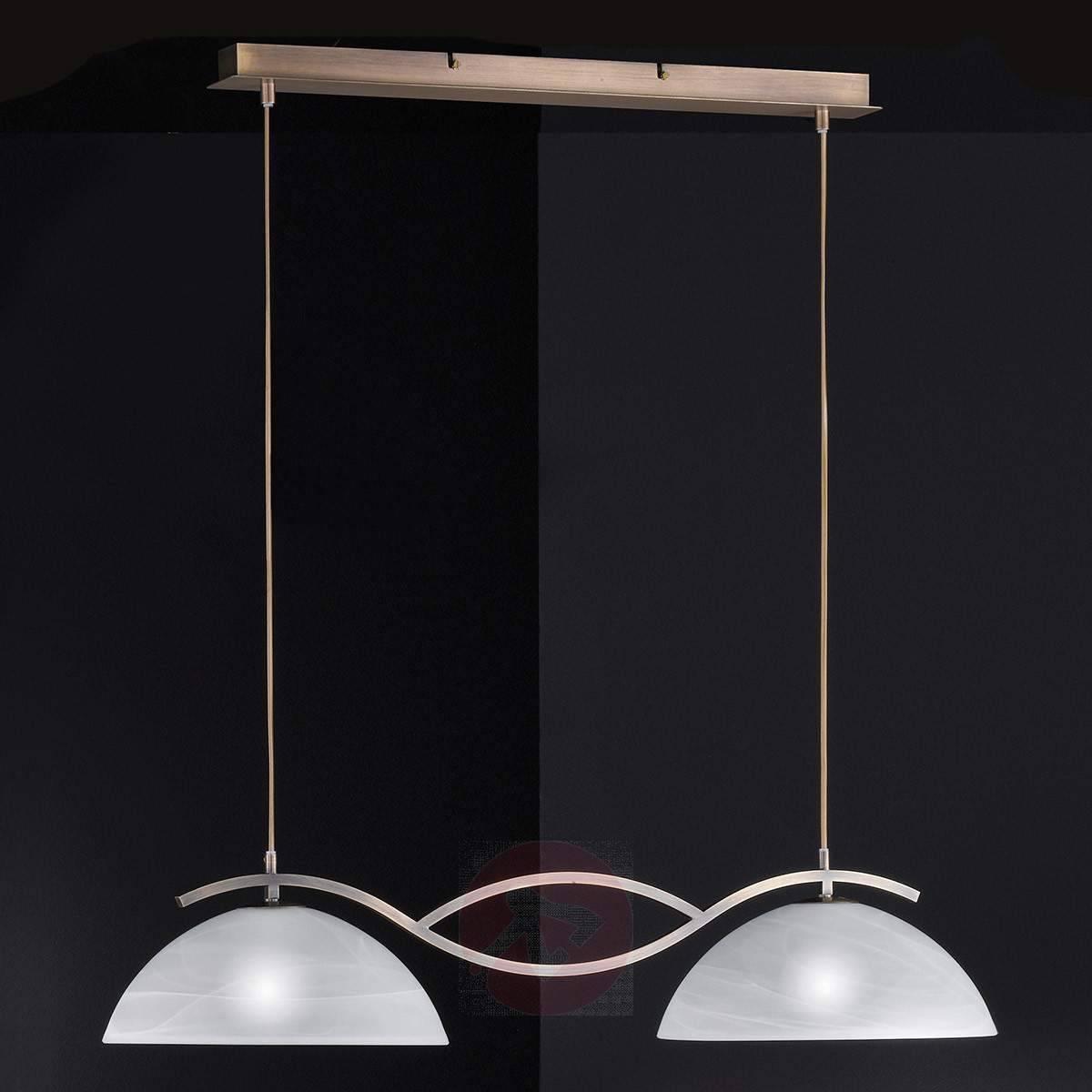 Glass Double Pendant Light Pastille, Antique Brass | Lights.co (View 9 of 15)