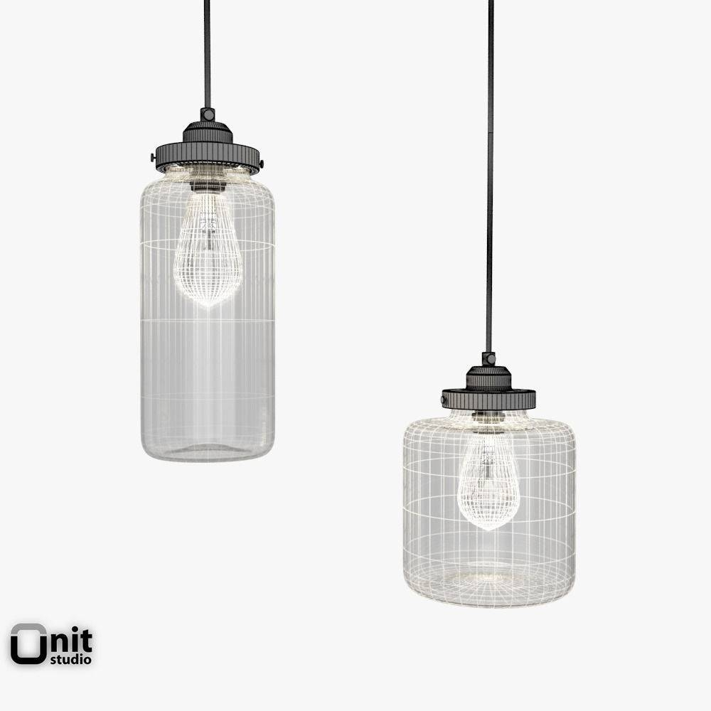 Glass Jar Pendant Lightwest Elm 3D Model | Cgtrader regarding West Elm Glass Pendants (Image 6 of 15)