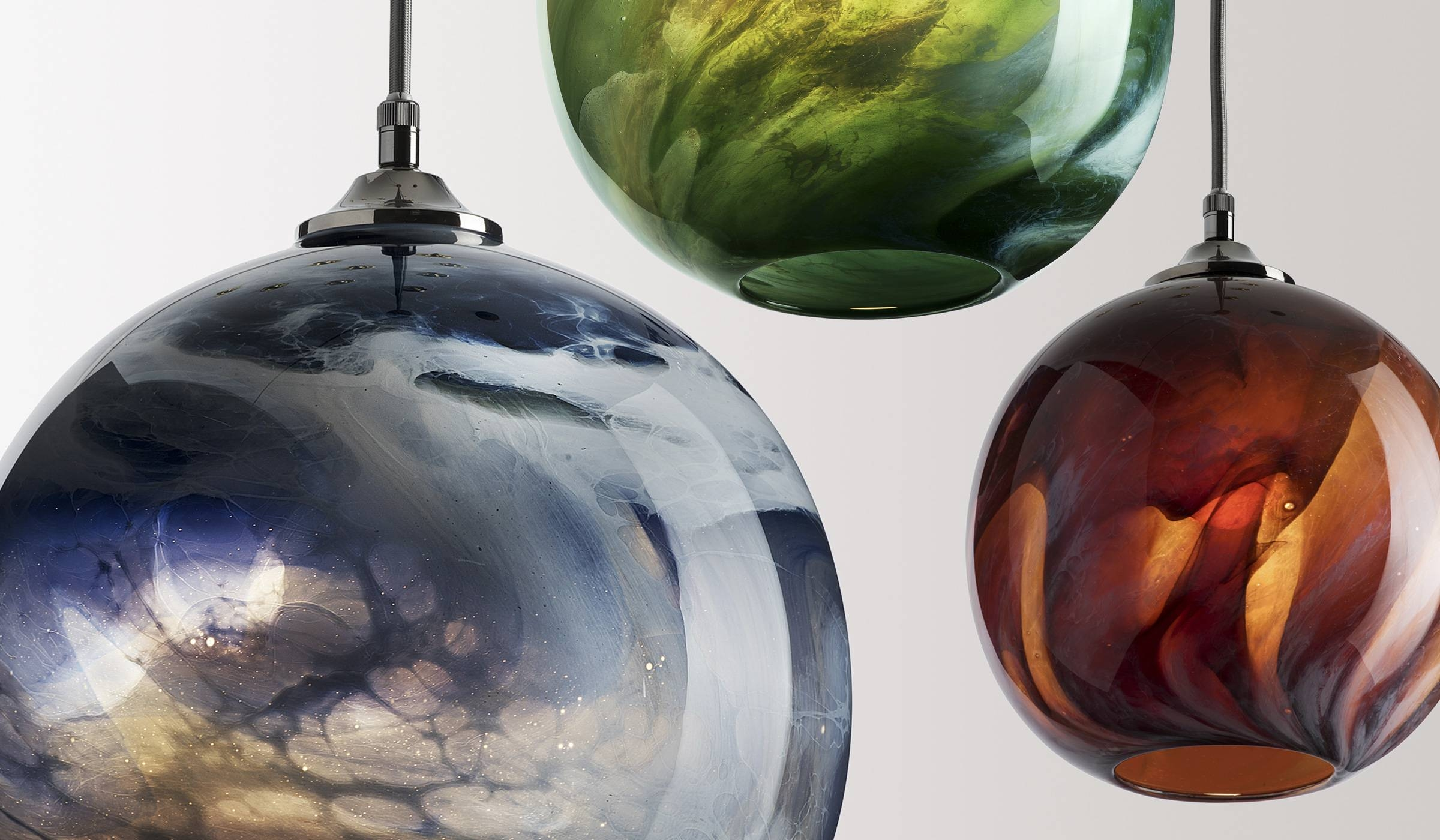 Glass Lighting - Rothschild & Bickers with Coloured Glass Pendant Lights (Image 8 of 15)