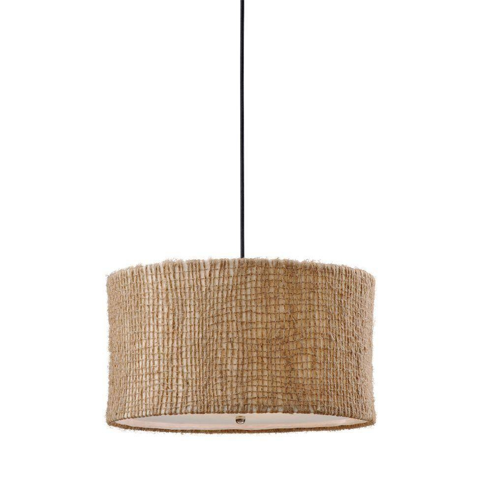 Global Direct 3-Light Natural Drum Pendant-21935 - The Home Depot with Drum Pendant Lights (Image 6 of 15)