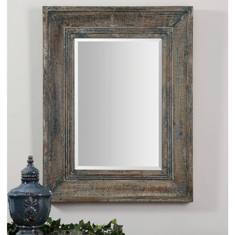 Global Direct 34 In. X 27 In. Blue/green Rectangle Framed Mirror pertaining to Blue Distressed Mirrors (Image 7 of 15)