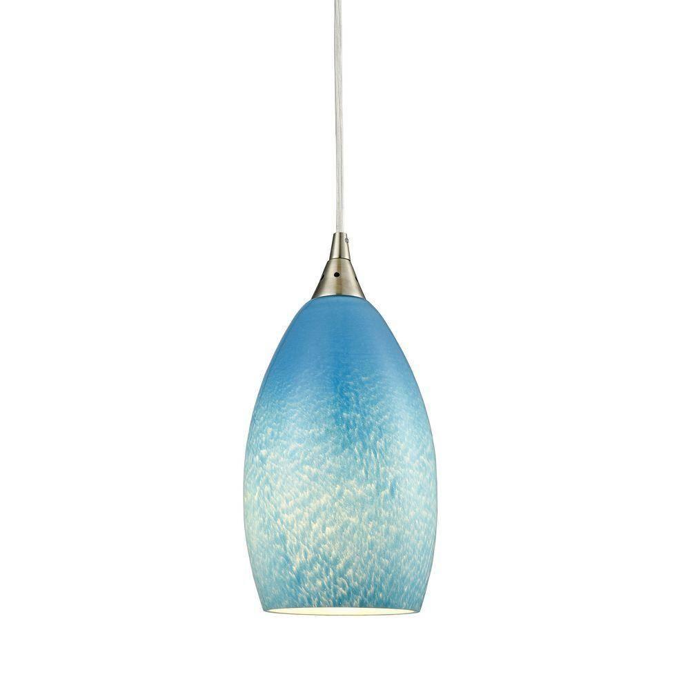 Globe - Blue - Pendant Lights - Hanging Lights - The Home Depot in Aqua Pendant Lights Fixtures (Image 5 of 15)