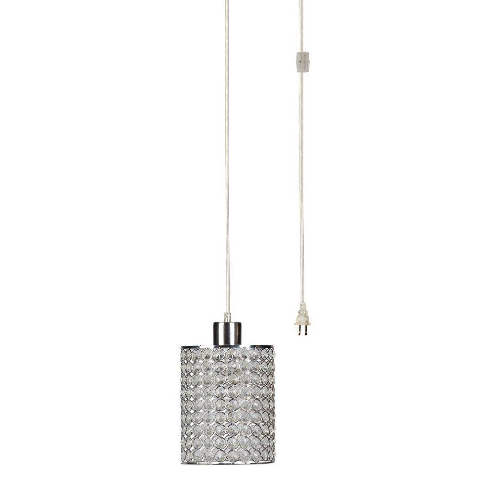 Globe Electric 15 Ft. 1-Light Chrome/crystal Cylindrical Plug In for Plugin Pendant Lights (Image 5 of 15)