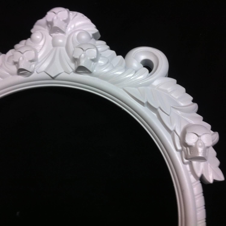 Gloss White Skull Round Frame Mirror Shabby Chic Baroque Gothic regarding Round Shabby Chic Mirrors (Image 8 of 15)
