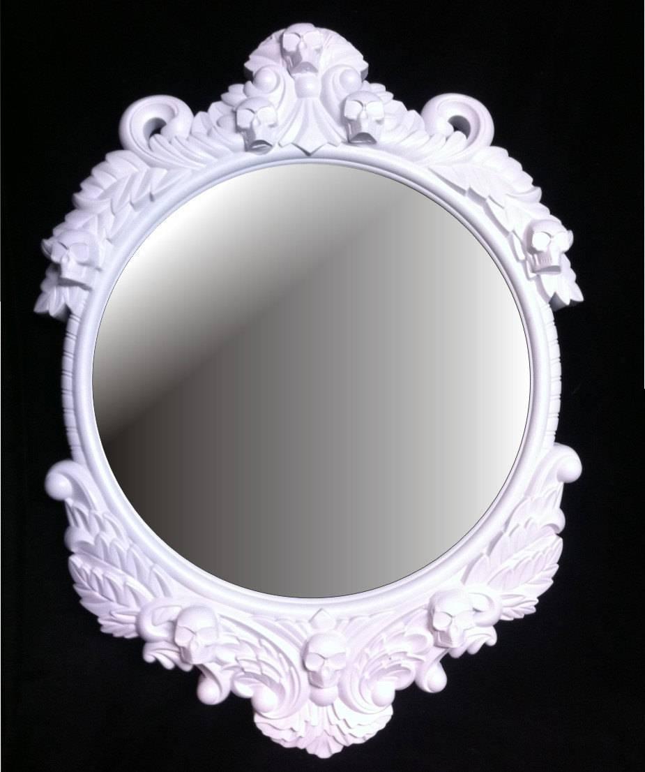 Gloss White Skull Round Frame Mirror Shabby Chic Baroque Gothic regarding Round Shabby Chic Mirrors (Image 7 of 15)
