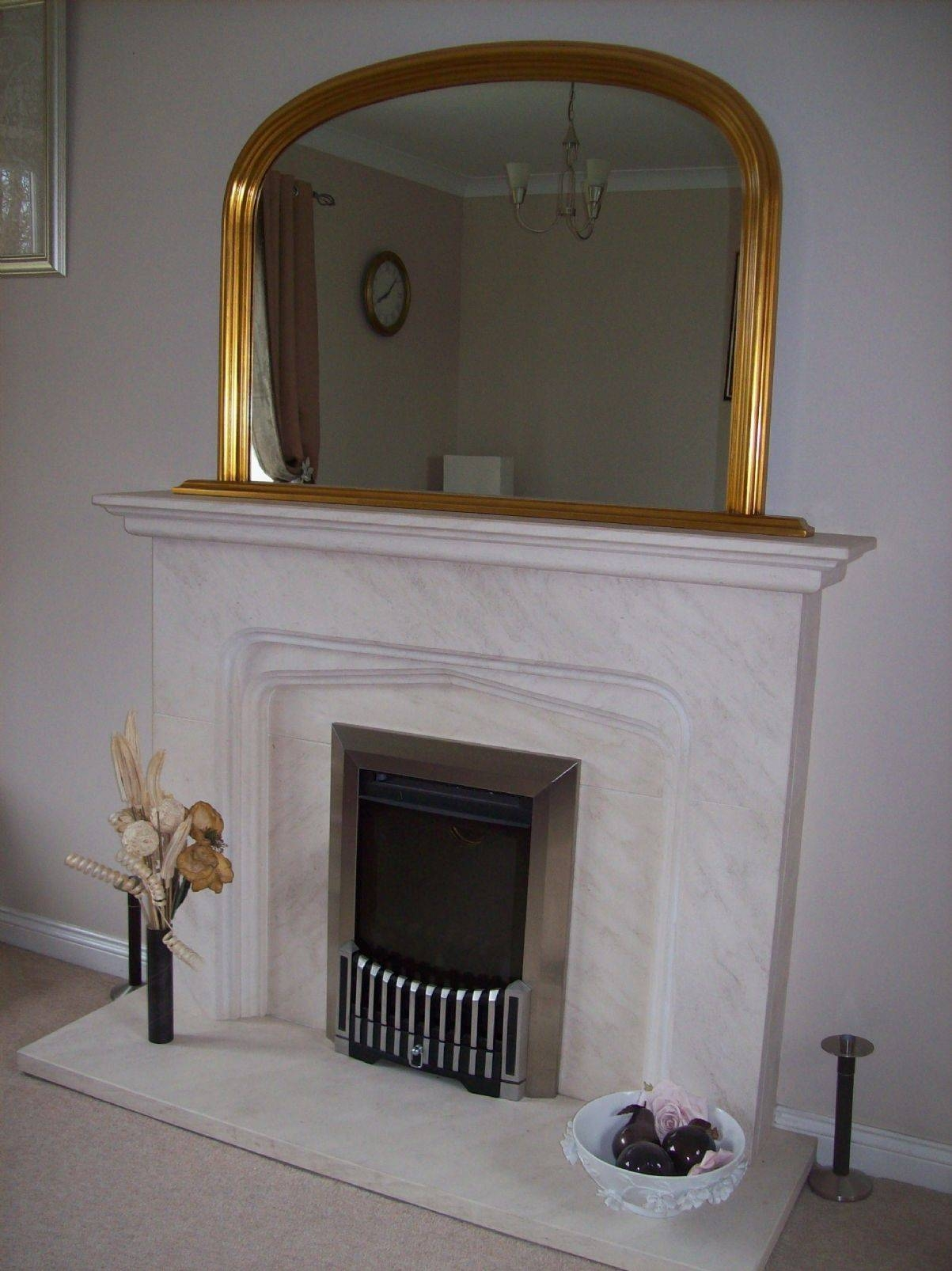 Gold Arched Overmantle Mirror Regarding Gold Mantle Mirrors (View 7 of 15)