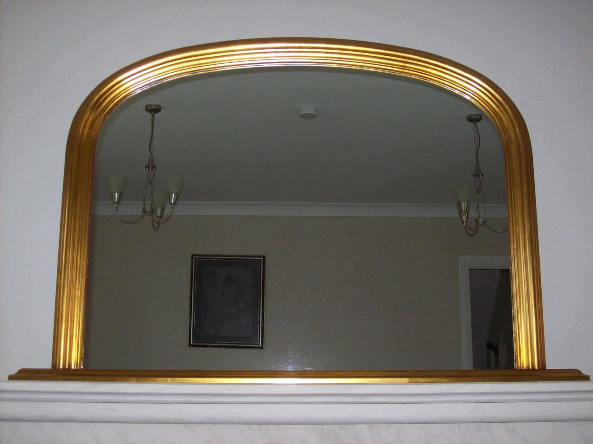 Gold Arched Overmantle Mirror Within Gold Mantle Mirrors (View 8 of 15)