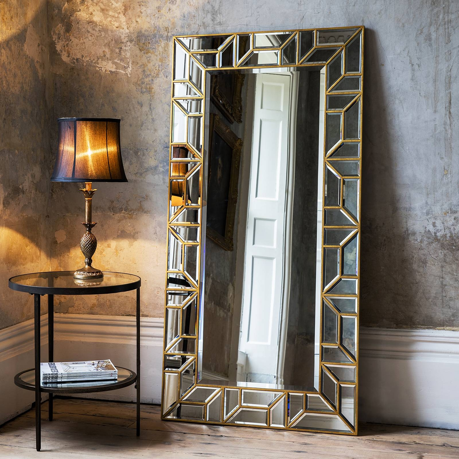 Gold Geometric Floor Standing Mirror – Primrose & Plum intended for Gold Standing Mirrors (Image 12 of 15)