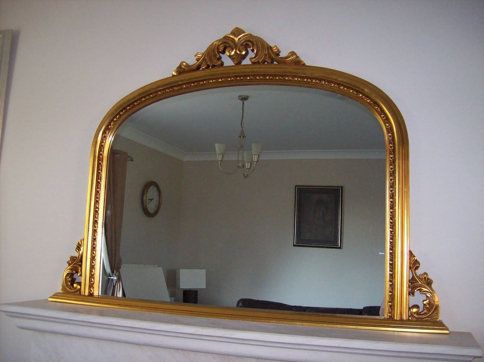 Gold Ornate Overmantle Mirror within Gold Mantle Mirrors (Image 9 of 15)