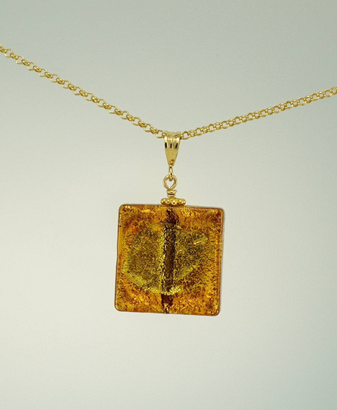 Gold Venetian Glass Square Pendant – Lily Jewels Paddington Within Venetian Glass Pendants (View 11 of 15)