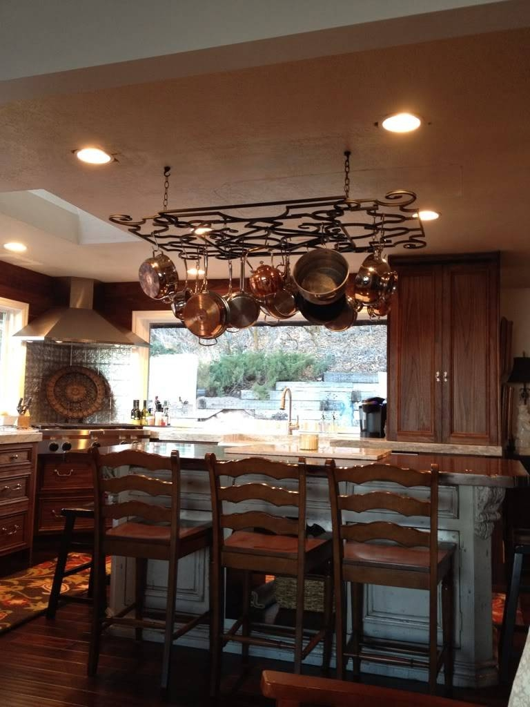 Good Pot Rack With Lights | Homesfeed within Kitchen Pendant Lights With Pot Rack (Image 7 of 15)