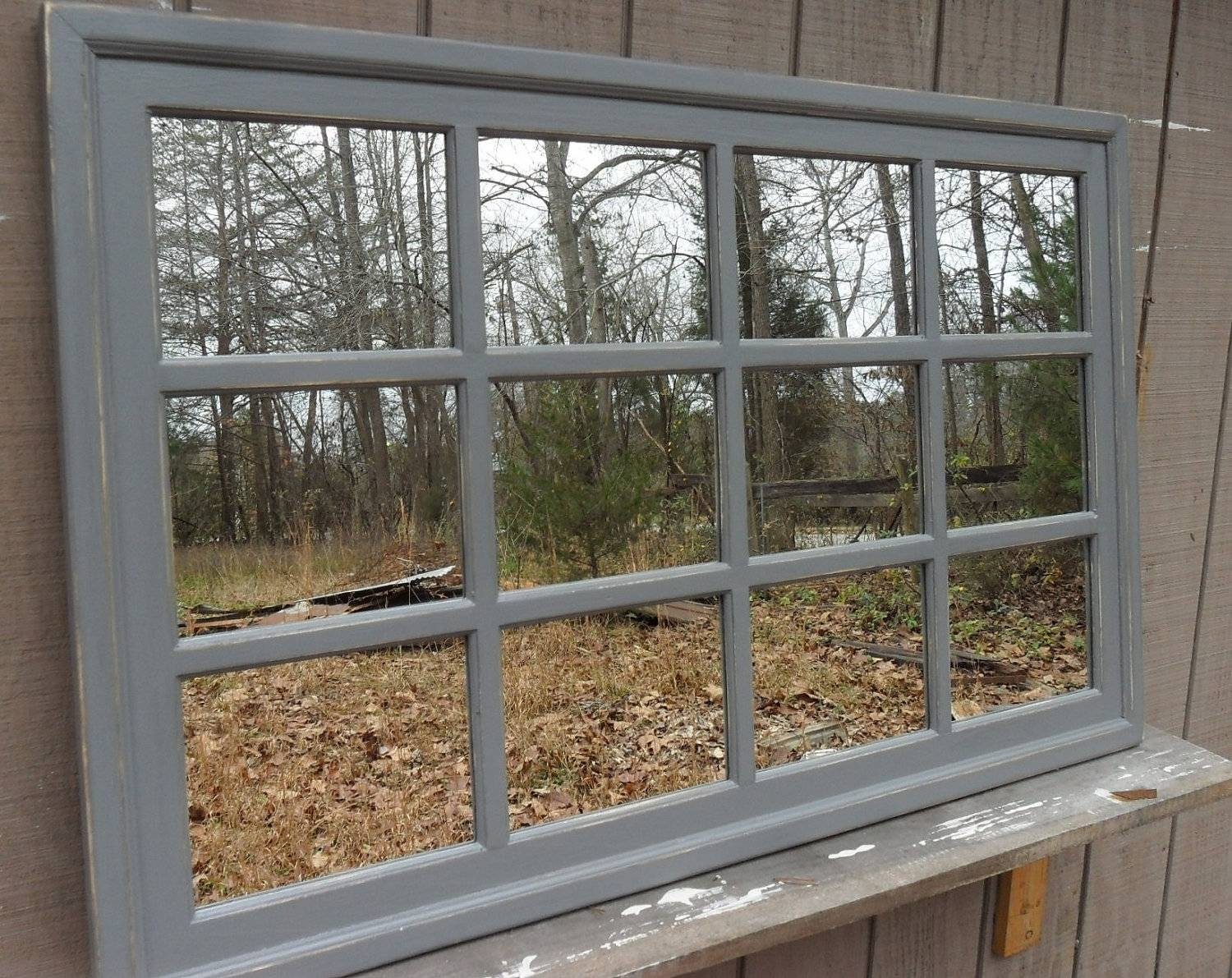 Gray ..48 X 30 Window Mirror Rectangular Cottage. with Window Mirrors (Image 11 of 15)
