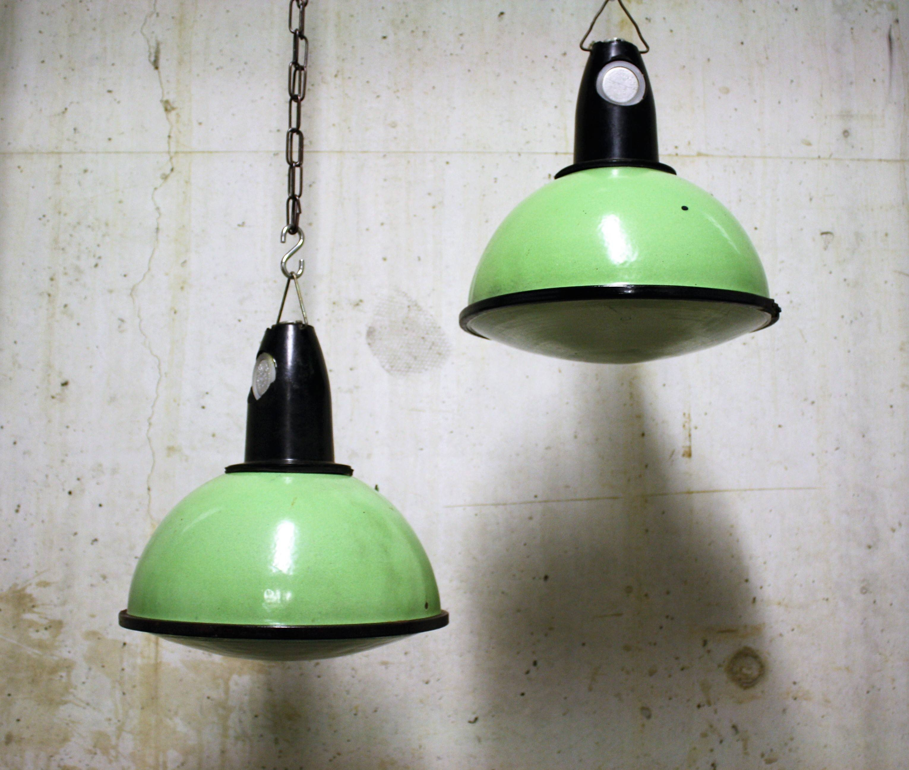 Green Industrial Pendant Lights With Glass 1960S (6Pcs) | Vinterior throughout 1960S Pendant Lights (Image 5 of 15)